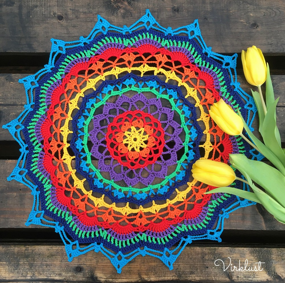 Free Crochet Technicolor Dream Mandala Pattern
