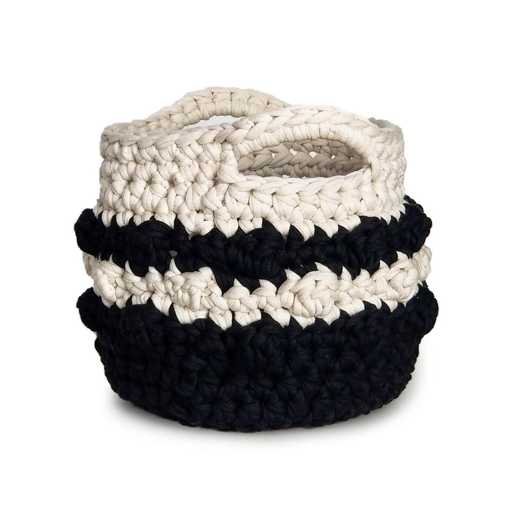 Crochet Bobble Stripe Basket