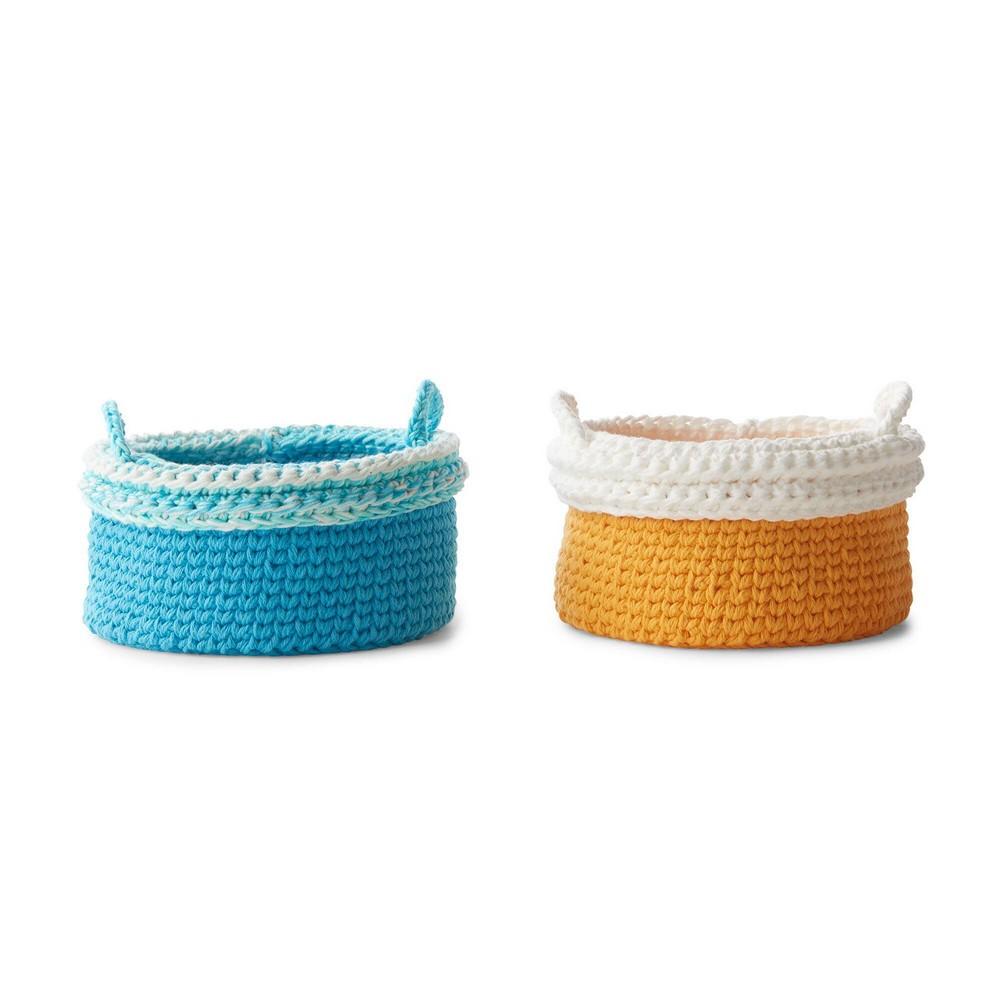 Crochet Cuff Border Baskets