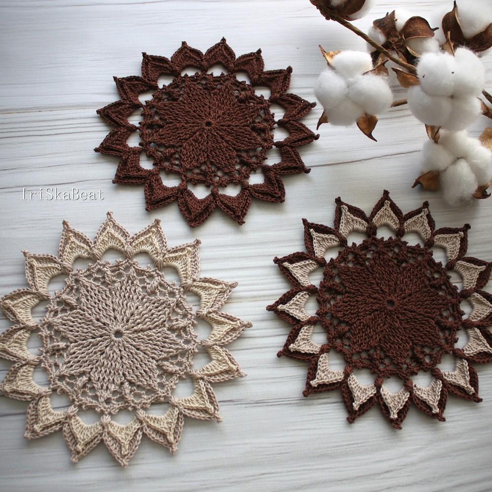 Free Crochet Lotus Coaster Pattern