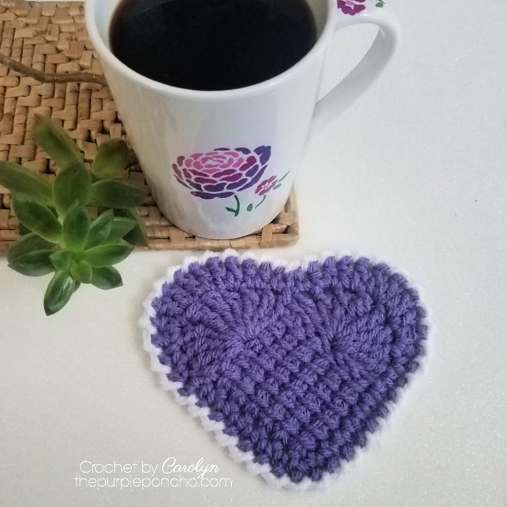Free Crochet Sweet Heart Coasters Pattern