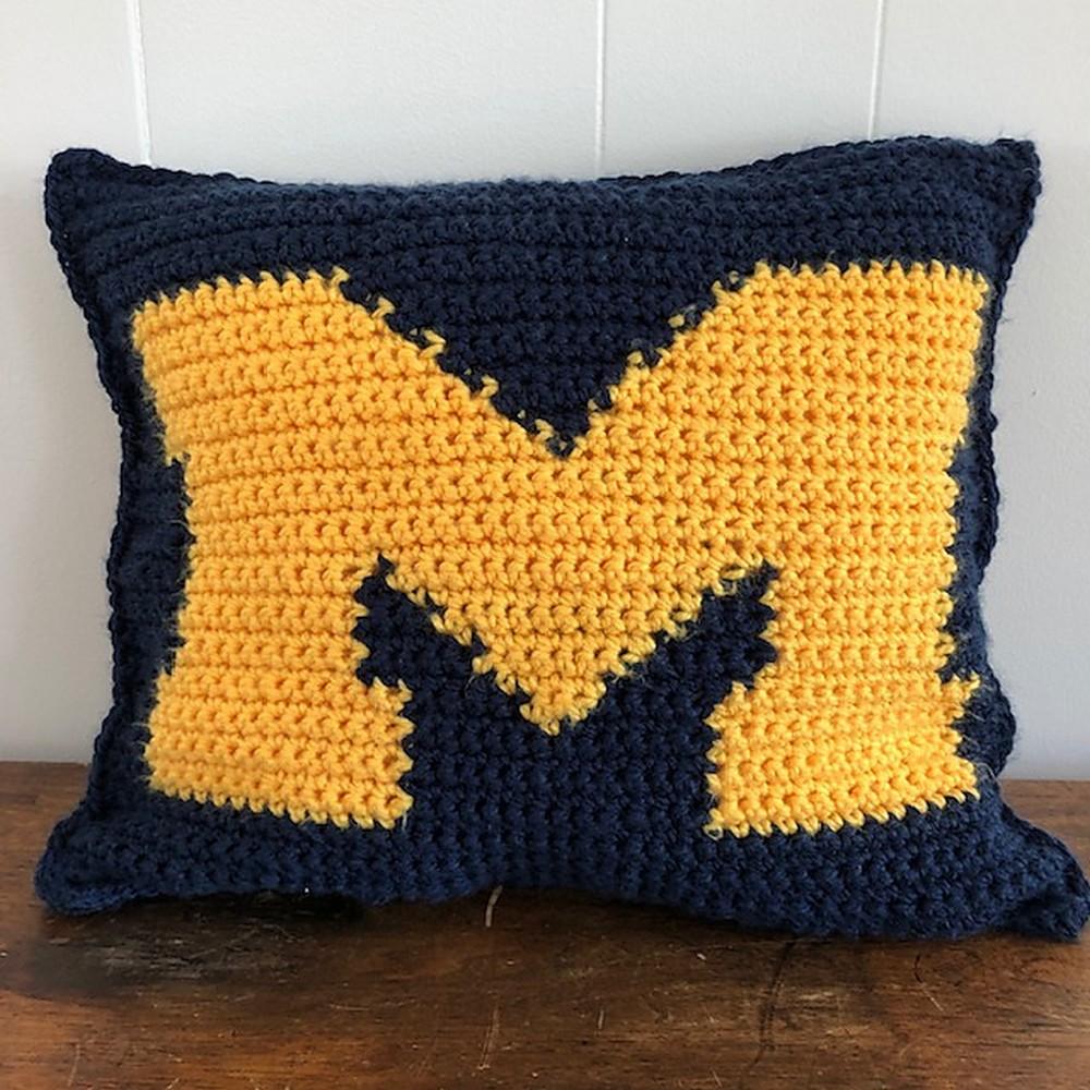 Crochet Big M Pillow Pattern