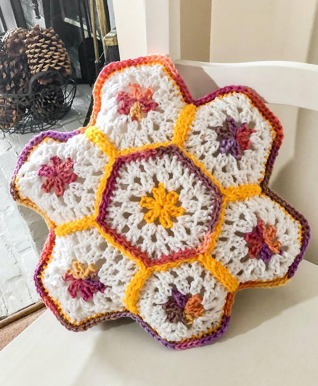 Crochet Granny Hexagon Pillow Pattern