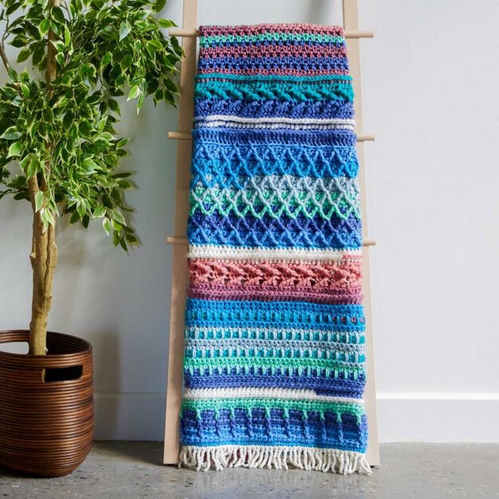 Crochet Sampler Blues Afghan Pattern
