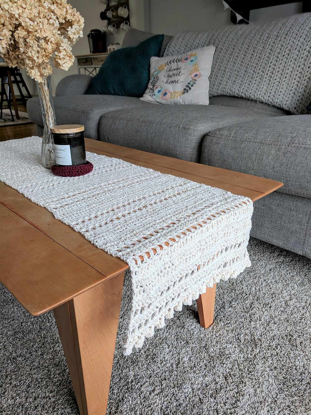 Free Crochet Home Sweet Home Table Runner Pattern