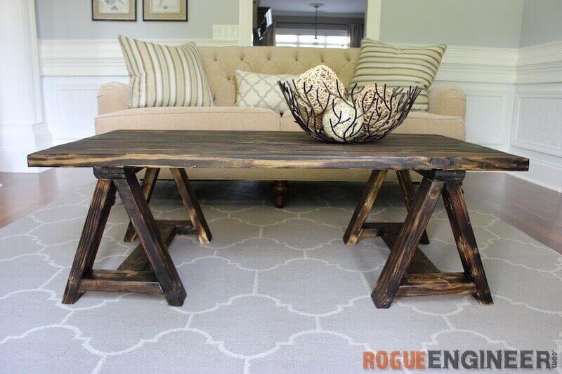 Sawhorse DIY Coffee Table