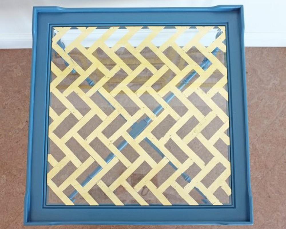 DIY Gold Leaf Glass Table Top