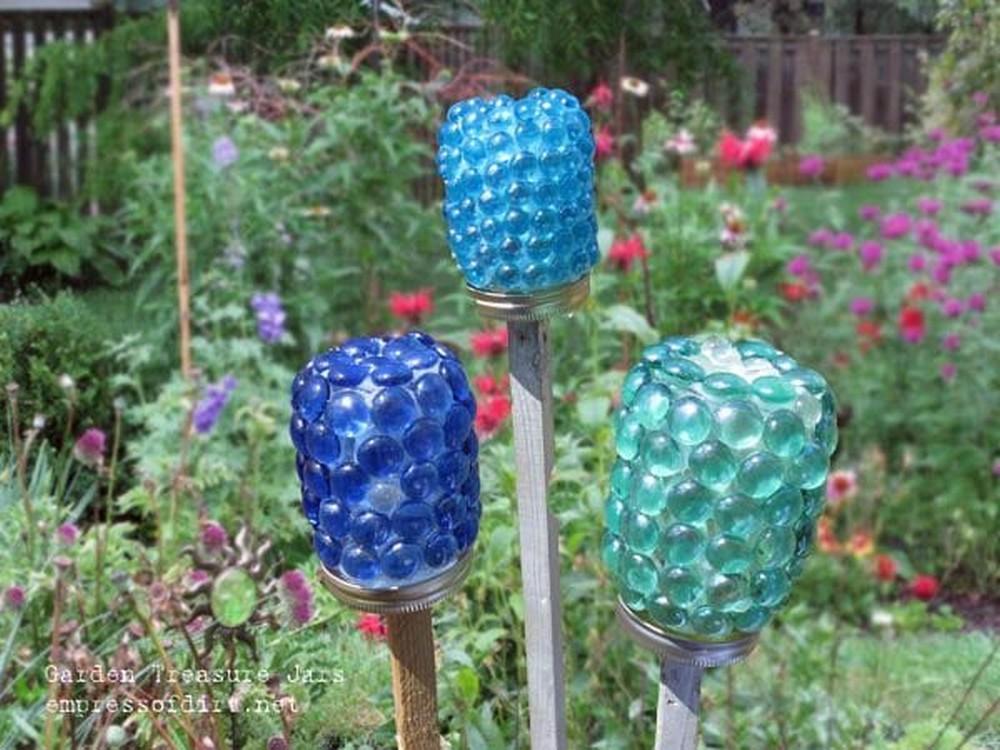 DIY Jar Luminaries With Glass Gems