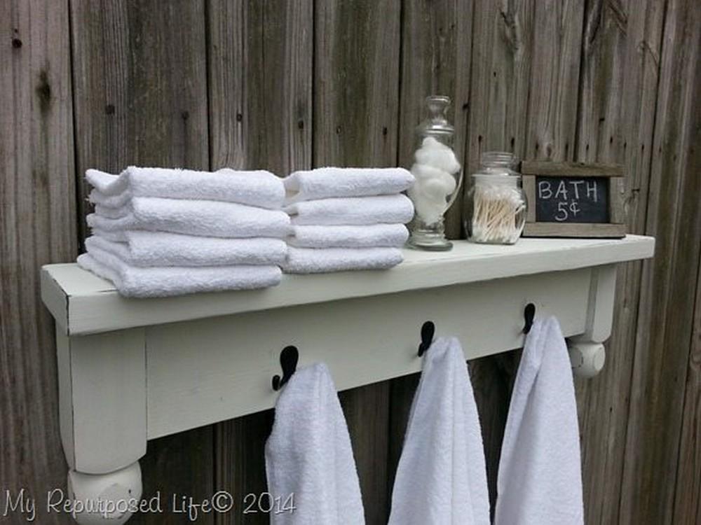 DIY Table Shelf Towel Rack