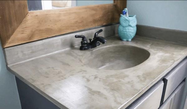 DIY Vanity Makeover Concrete Overlay