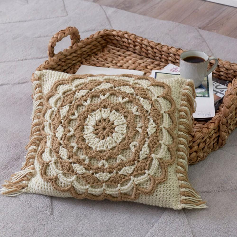 Free Crochet Fringed Mandala Pillow Pattern
