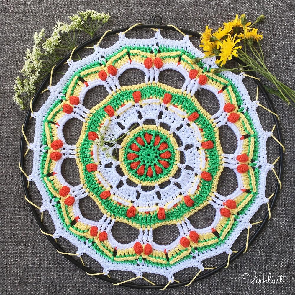 Free Crochet Strawberry Fields Mandala Pattern
