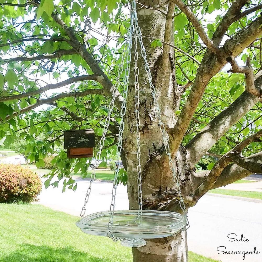 Glass Lid To Hanging Bird Bath