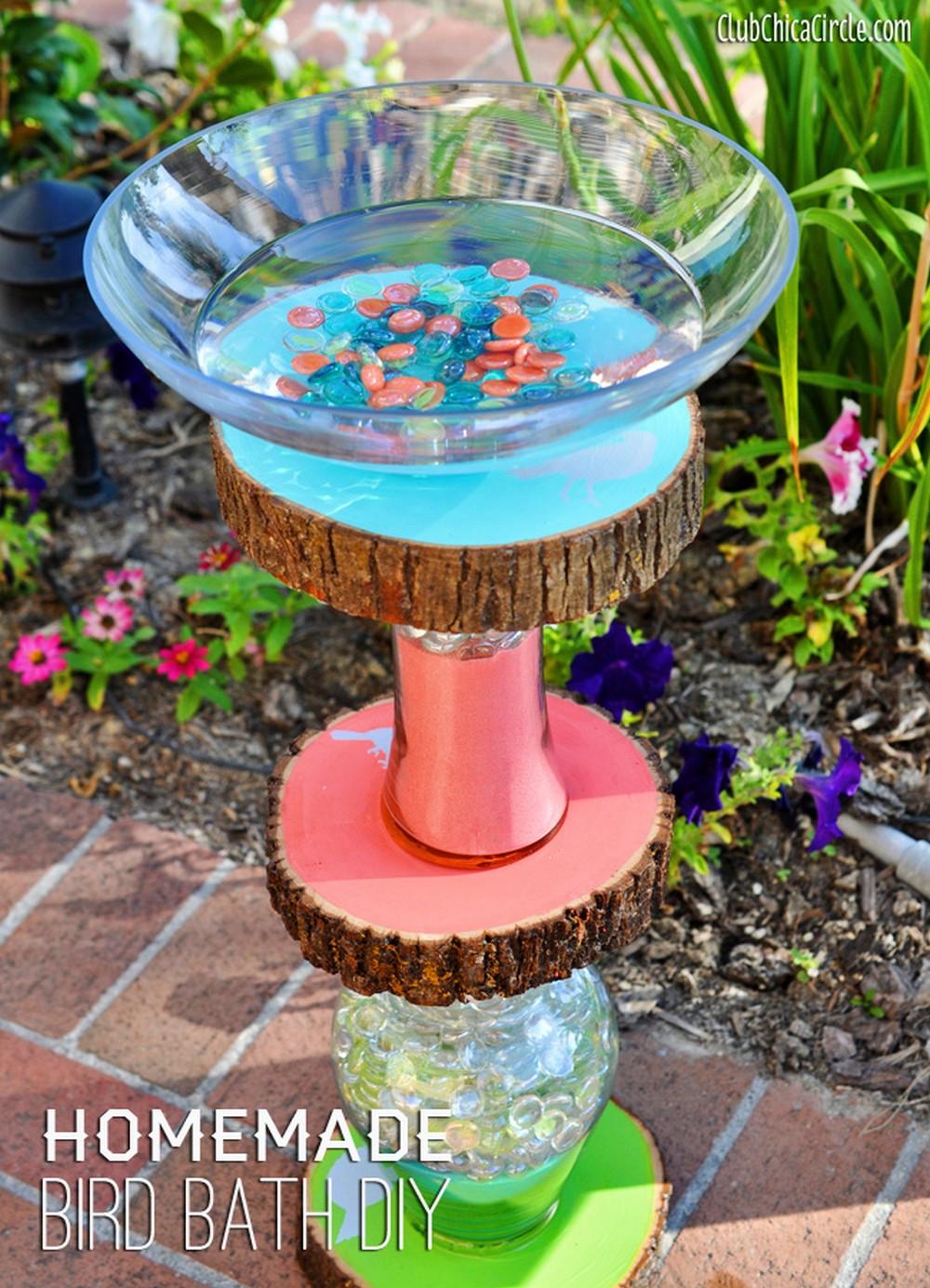 Vase And Wood Slice Bird Bath